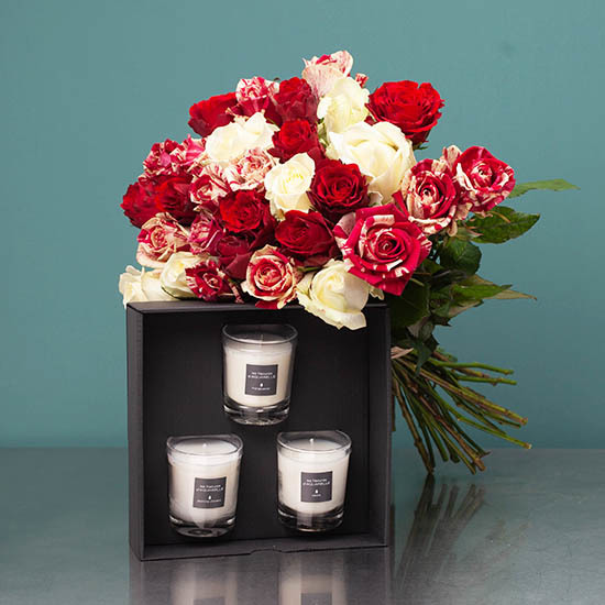 Bouquet de roses et coffret de 3 bougies parfumées