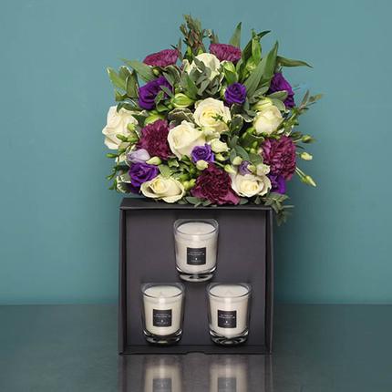 Bouquet parfumée et coffret de 3 bougies